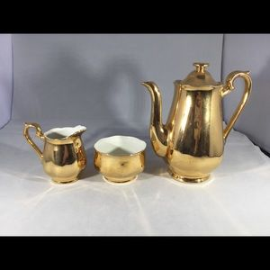 Gold Coffee Pot, Creamer & Sugar Bowl